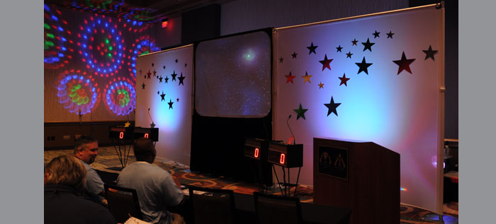 Tendo backdrop with special effect lighting
